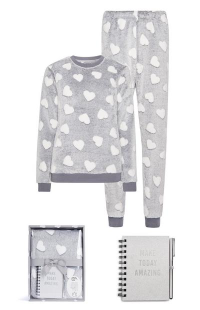Grijze pyjama met stippen in geschenkdoos