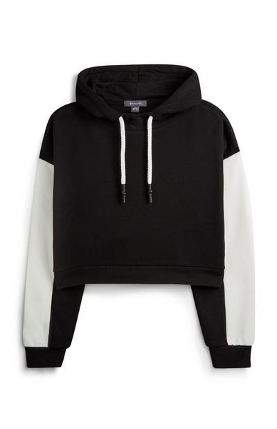 Sudadera corta negra con capucha