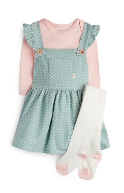 Mintgroene overgooier met stippen en maillot voor meisjes, baby