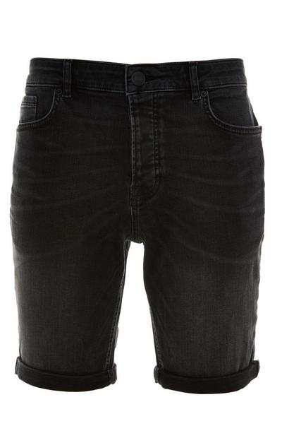 Charcoal Stretch Denim Rolled Hem Skinny Shorts