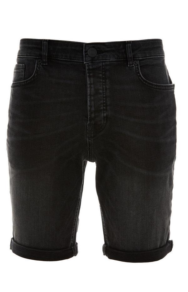 Shorts skinny antracite in denim con risvolto