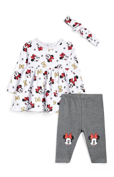 Tenue Minnie Mouse 3pièces grises avec bandeau bébé fille