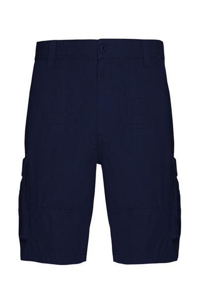 Temno modre kratke hlače z žepi na stegnih