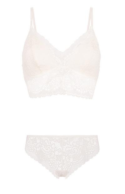 Lace Bralette And Brief Set