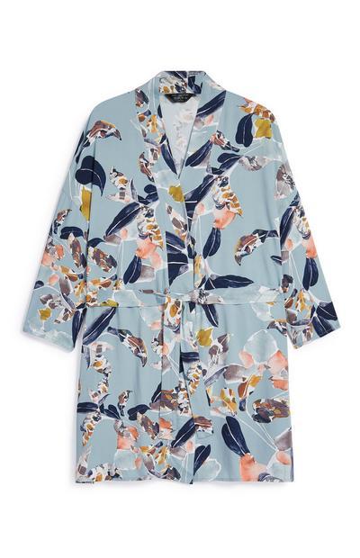 Vestaglia blu con stampa floreale