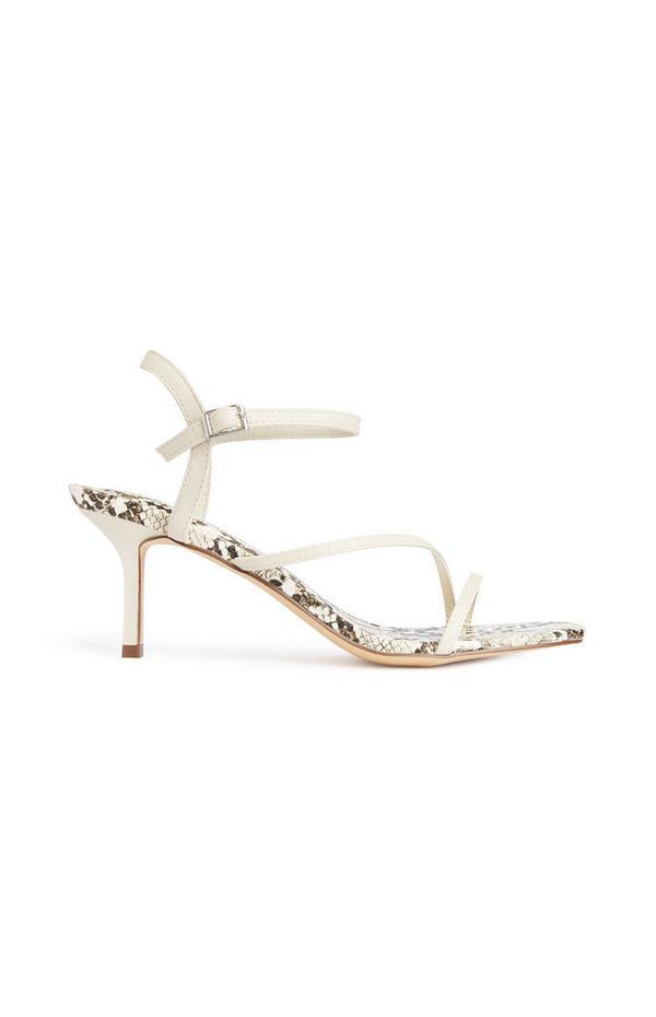 Sandálias tiras padrão cobra branco