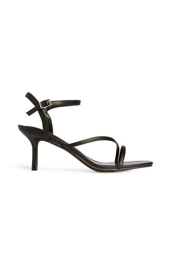 Black Strappy Stiletto Sandals