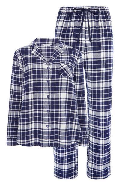 Mornarsko modra karirasta pižama