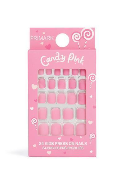 Uñas postizas en color rosa caramelo para niños