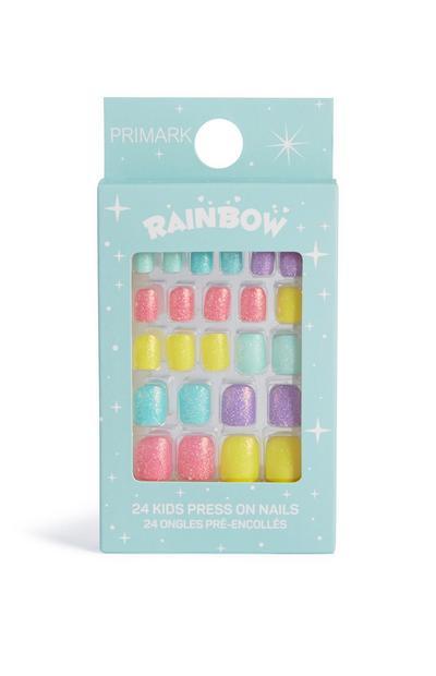 Unhas pré-coladas arco-íris brilhante