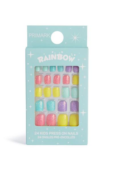 Rainbow Glitter Press On Nails