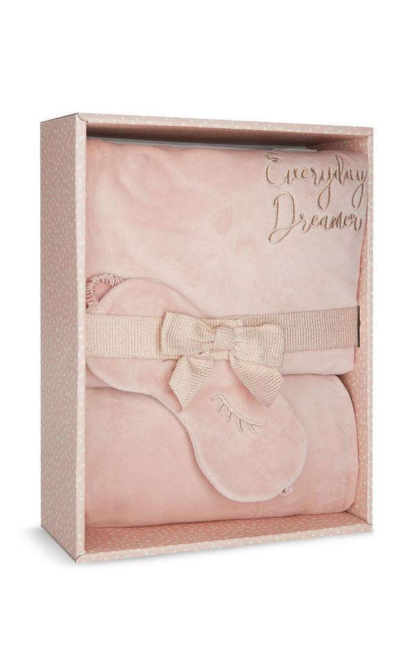 Caixa oferta pijama super macio cor-de-rosa