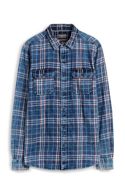Donkerblauw geruit overhemd