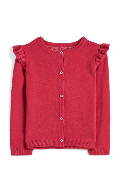 Younger Girl Dark Pink Frill Cardigan