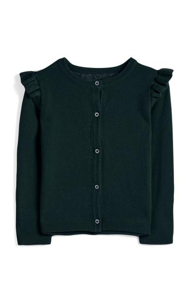 Younger Girl Dark Green Frill Cardigan