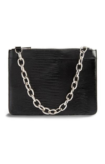 Črna lakasta ročna torbica
