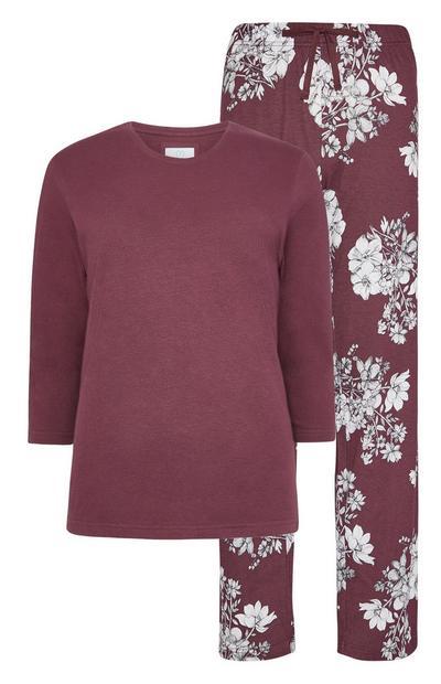 Pyjama écologique bordeaux à fleurs