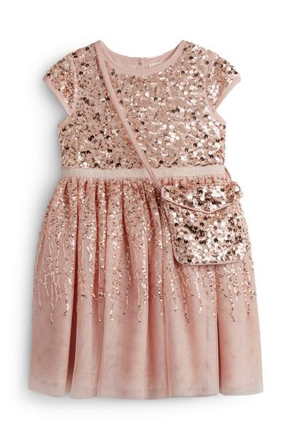 Younger Girl Pink Sequin Sparkly Dress With A Matching Bag