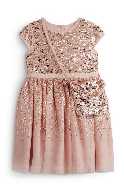 Vestido cintilante lantejoulas/bolsa condizente menina cor-de-rosa