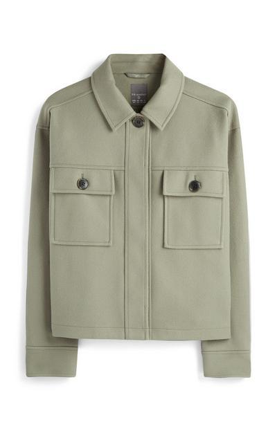 Casaco bolsos verde