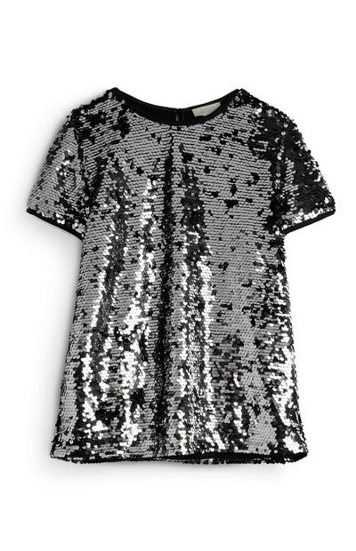 Older Girl Silver Sequin Blouse