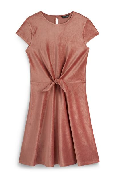 Older Girl Pink Tie Front Dress