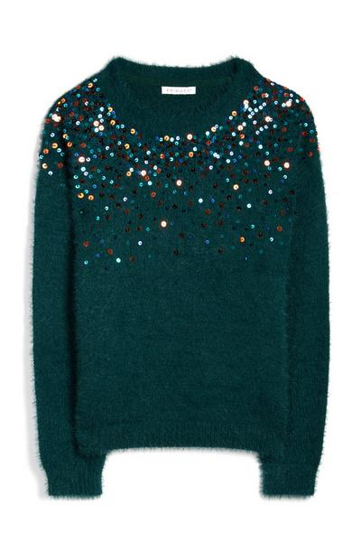 Older Girl Green Scatter Sequin Fluffy Jumper