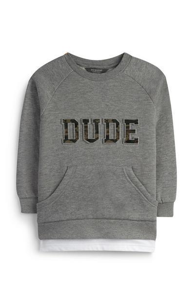 """Grauer """"Dude"""" Pullover (kleine Jungen)"""