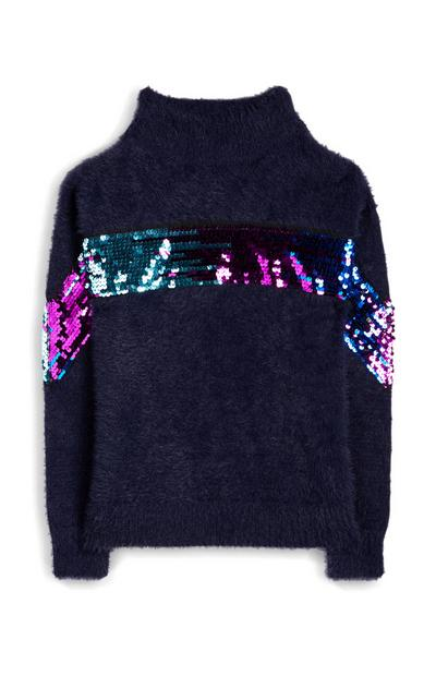 Older Girl Navy Sequin Panel Fluffy Jumper