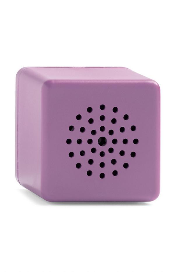 Minialtavoz inalámbrico morado en forma de cubo