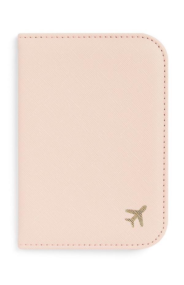 Suporte passaporte cor-de-rosa