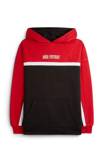 Older Boy Our Future Red Color Block Hoodie