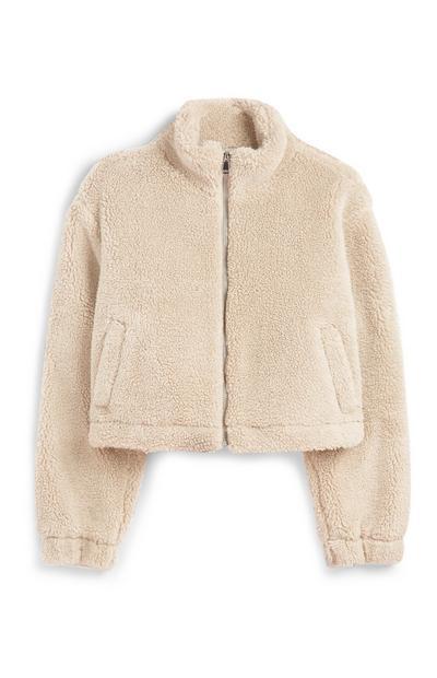 Ecru Zip Up Cropped Jacket