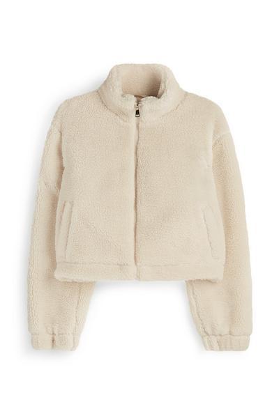 Cream Cropped Teddy Fleece Jacket