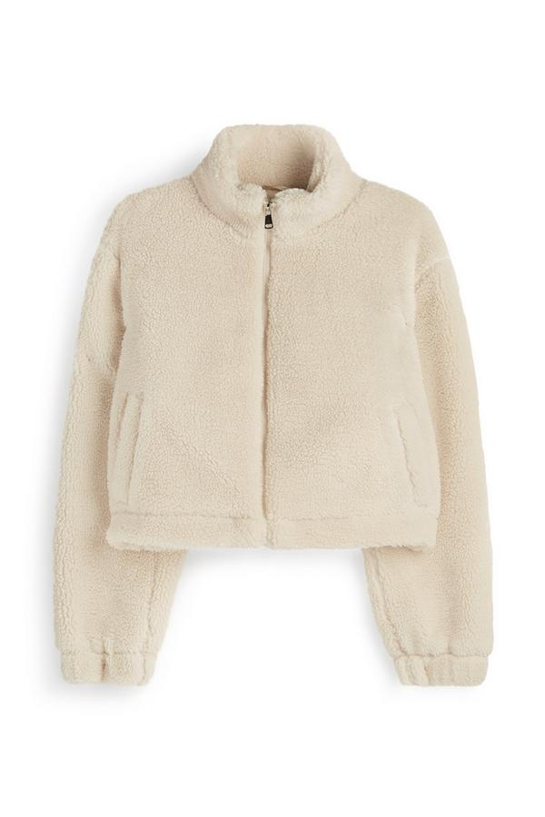 Cream Cropped Teddy Fleece Jacket