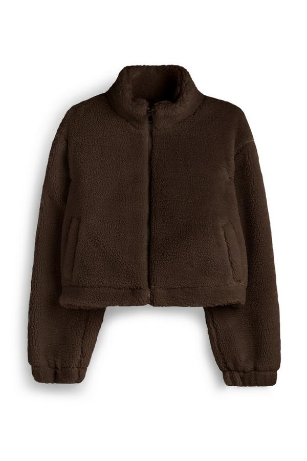 Brown Crop Borg Jacket