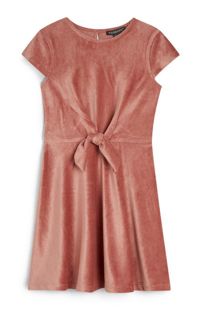 Robe rose en velours fille