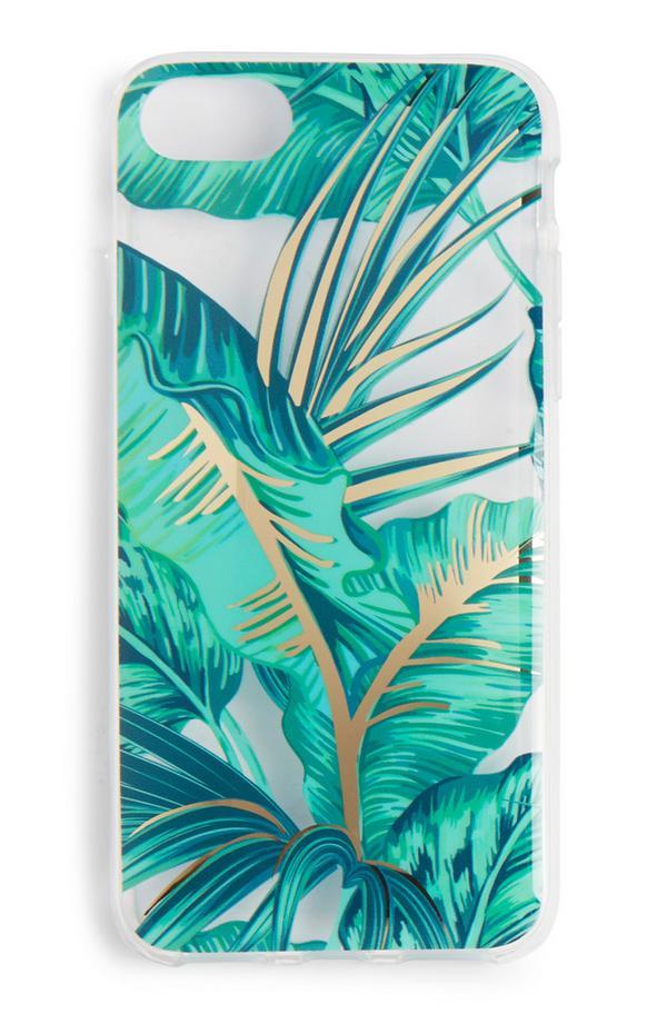 Handyhülle mit türkisfarbenem Palmen-Print