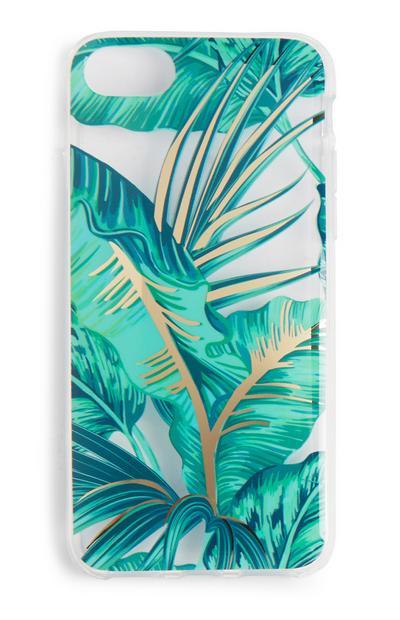 Coque de téléphone turquoise à imprimé palmiers