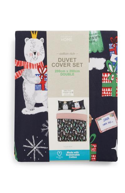 Set funda de edredón navideña para cama doble con oso polar