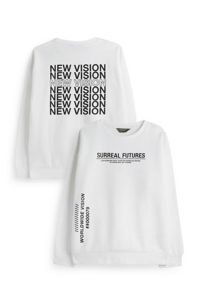 Older Boy White Surreal Future Crew Neck Jumper
