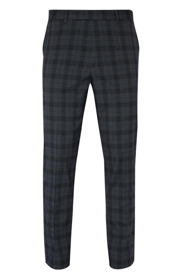 Charcoal Check Suit Pants