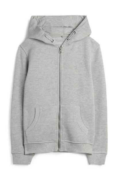 Siv pulover s kapuco za starejše dečke
