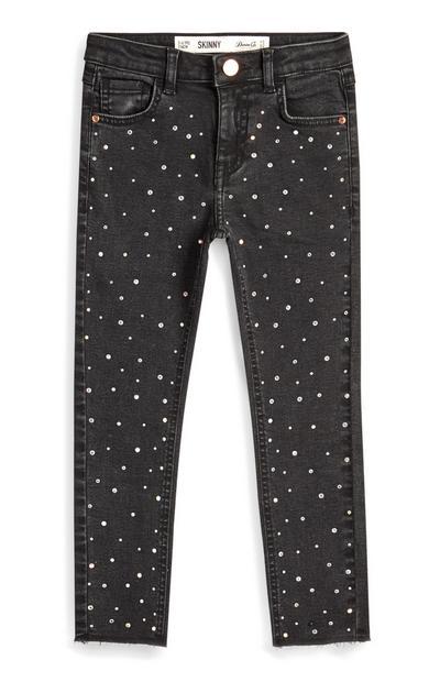 Jeans grigi con strass da bambina