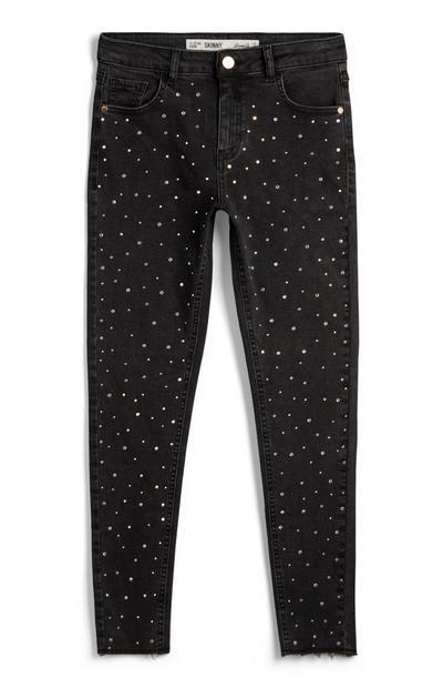 Grijze jeans met stras, meisjes