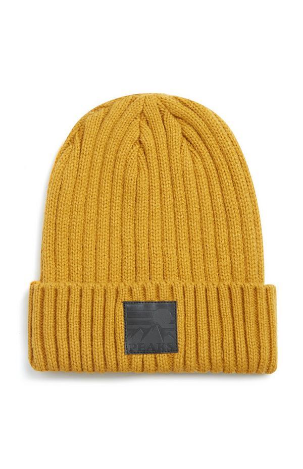 Bonnet jaune Peaks à revers