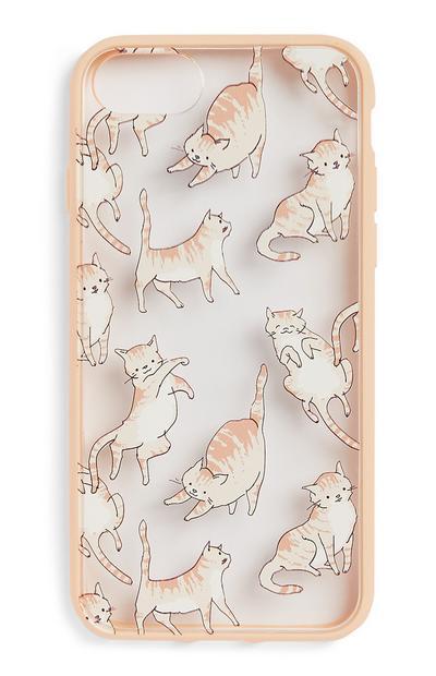 Capa iPhone 6 gato cor-de-rosa claro