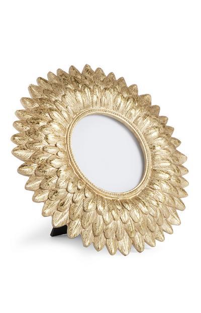 Gold Circular Leaf Frame