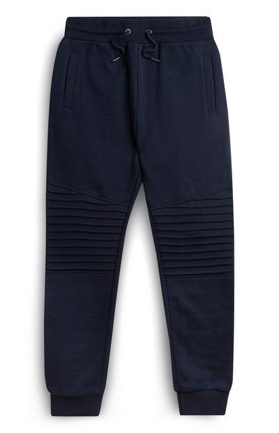 Joggers blu navy al ginocchio a coste da ragazzo