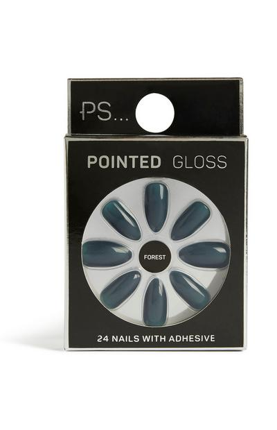 Bosgroene kunstnagels pointed gloss